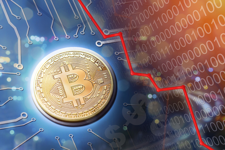 Bitcoin bubble burst and market crash as people sell their currency and get out of the market. Stock Photo