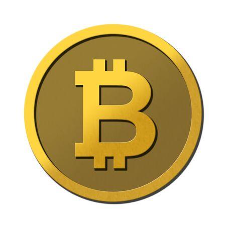 Golden bitcoin symbol coin on white background.  Reflective 3D logo. Stock Photo