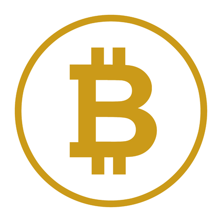 Bitcoin symbol sign for digital currency.  Cryptocurrency to use for buttons or websites.  Security concept.  Golden yellow orange bitcoin illustration.