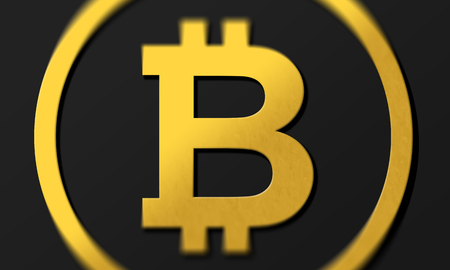 Dark bitcoin 3D coin logo illustration in gold with shadows.  Rendering with shading and high closs golden B symbol concept.