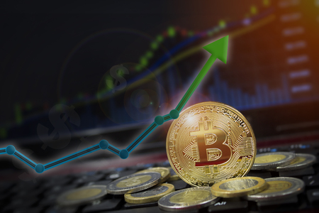 Bitcoin arrow up for increasing value and financial upswing concept.  Gains and success in crypto bitcoin investments.  Copy space for text.