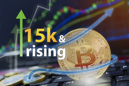 Upswing for the crypto currency bitcoin with BTC symbol trading increase and profits for financial investors.