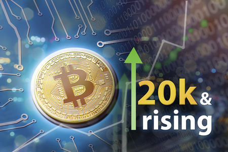 Rising bitcoin prices and upswing bull market with rising profits and financial success.