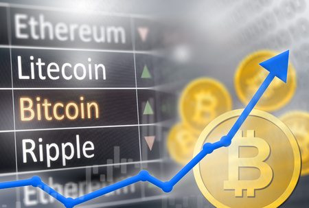 Bitcoin price increase.  Financial gain and market upswing for crypto values. Stock Photo