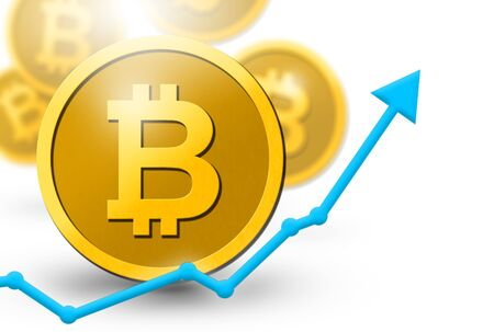 Bitcoin coins virtual currency illustration with 3D coins and upswing profit increase concept.  Digital money system threatening financial business systems with new payment and commerce system.  Copy space.