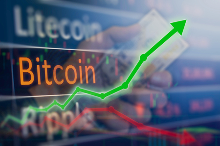 Upswing rising value for bitcoin and other cryptocurrencies.  Not a bubble to be burst.  Copy space on image. Stockfoto