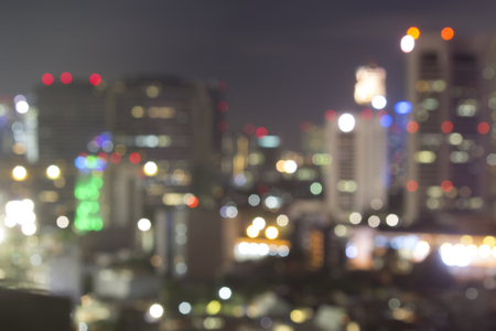 Blurred bokeh photo for city venue night life concept.  Clubbing and partying at night.  Room for copy space.