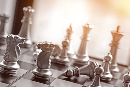 Lucky chess game business strategy concept.  Black and white game with copy space.  Strategize and plan your road to victory. Stock Photo