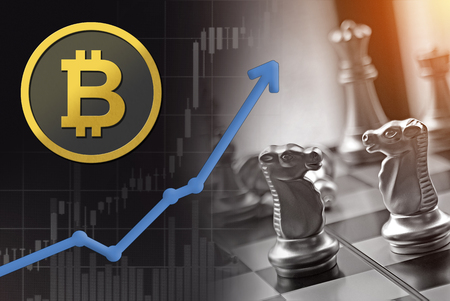 Bitcoin financial business competition chess battle with rising market value upswing. Stock Photo