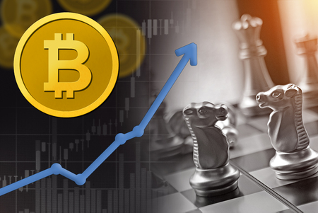 Bitcoin competition for business and financial concept.  Rising upward swing with increase arrow and chess battle pieces on game board. Stockfoto