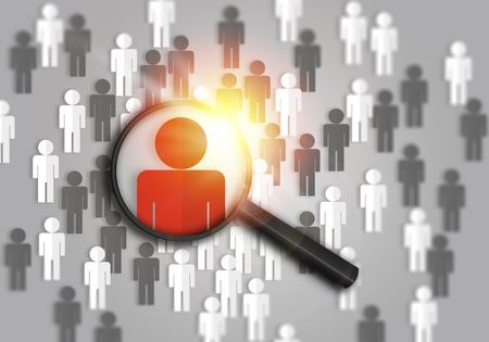 Searching for the best job candidate and people finder concept looking for the right person to stand out from the crowd.  Top pick and best choice for fitting the skillset that HR is looking for. Stock Photo