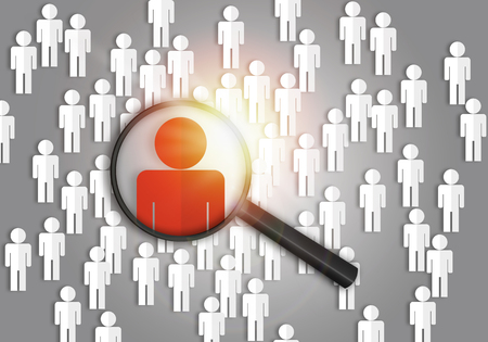 Searching for the best job candidate and people finder concept looking for the right person to stand out from the crowd.  Top pick and best choice for fitting the skillset that HR is looking for. Stock fotó