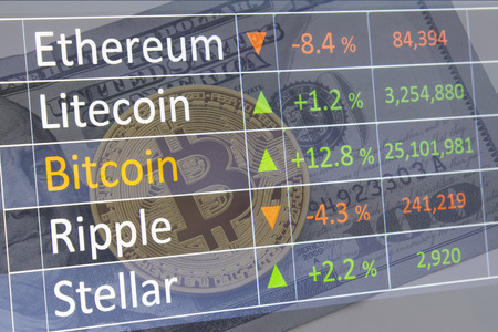 Investing and stock market concept gain and profits with faded crypto charts and bitcoin. Zdjęcie Seryjne