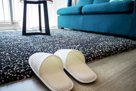 Cozy warm slippers on plush carpet for comfort and warmth in modern living room.