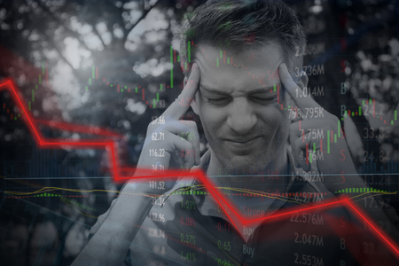 Falling stock prices and angry disappointed investor fails and loses money.  Falling price and red line downturn. Stock Photo