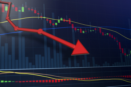 Stocks plummit after bad news coverage. Stock Photo