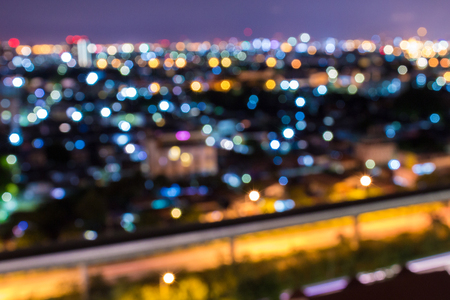 Cityscape bokeh blurred for night life and night club.  Energetic people lifestyle concept.