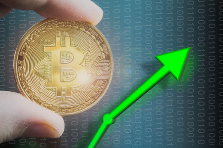 Bitcoin price rising and increase value of BTC.  Trading and holding coin with digital 1s and 0s.