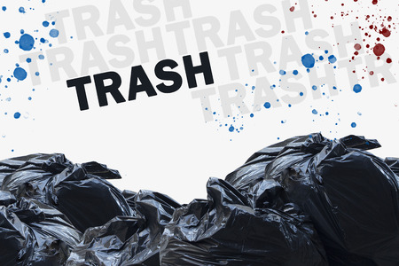 Trash concept with stacked garbage bags and waste.  Other words are junk and litter, rubbish and waste.  Splattered red and blue dirt. Standard-Bild