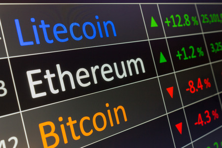 Ethereum coin crypto trading chart for buying and selling ETH.  Financial investments in cryptocurrency, and showing values on trading chart of exchange screen.  Closeup of business deal of buying and selling Ethereum. Zdjęcie Seryjne