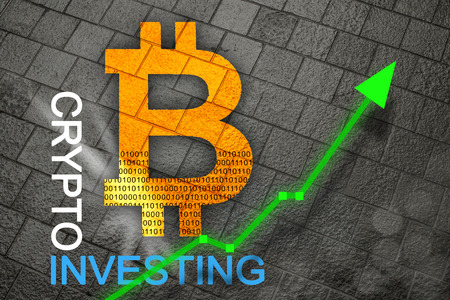 Bitcoin with rising arrow for increased values and profits for financial and business gain.  Physical golden bitcoin.  Learn how to invest on crypto exchange.