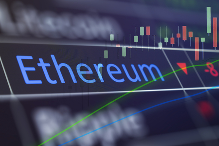 Ethereum coin crypto trading chart for buying and selling ETH.  Financial investments in cryptocurrency, and showing values on trading chart of exchange screen.  Closeup of business deal of buying and selling Ethereum. Stock Photo