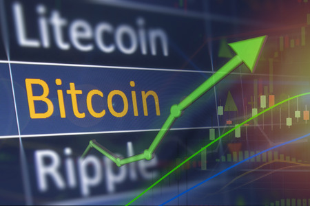 Rising price for Bitcoin currency. Stock Photo