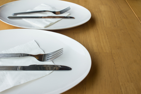 Dinner plates for restaurant background and food industry.  Trendy restaurants.