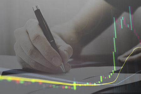 Business signature for stock market capital gains and money earned from investing.  Financial firms earning millions.