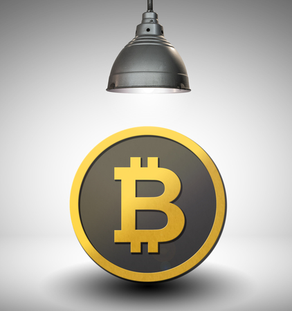 bitcoin under the spotlight with clear white background.