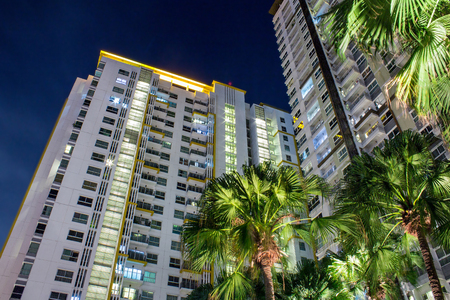 Tropical palm trees and apartment windows at night.  Highrise housing in large urban cities for rental and buyers housing mortgage concept. Stock Photo