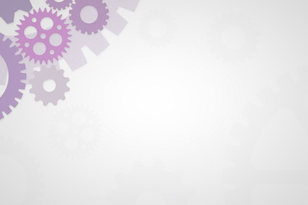 Empty slideshow template in purple with empty space for wording or text.  Cogs and gears for mechanical process.