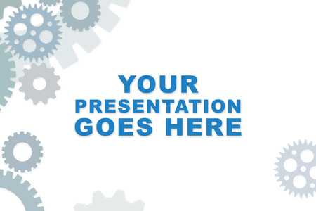 Empty slideshow template in blue with empty space for wording or text.  Cogs and gears for mechanical process.