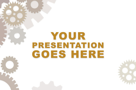 Empty slideshow template in rusty brown with empty space for wording or text.  Cogs and gears for mechanical process. 版權商用圖片