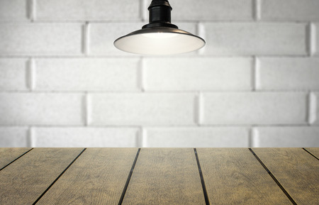 Copy space for product.  Open white space on rustic wood with hanging light.  Prototype template display and copyspace.