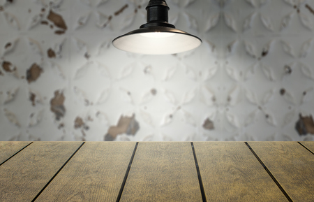 Copy space for product with hanging light and aged old faded background.  Space for text and wording with your product.