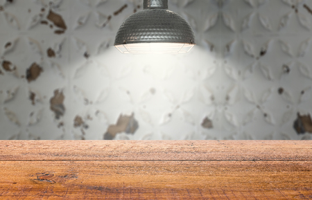 Bright light interrogation team wooden table lonely room for display.