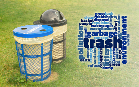 Trash concept word cloud for garbage and eco cleaner world concept. Stock Photo - 112196071