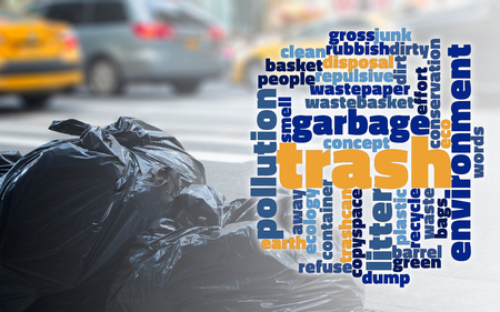 Trash concept word cloud for garbage and eco cleaner world concept. Stock Photo
