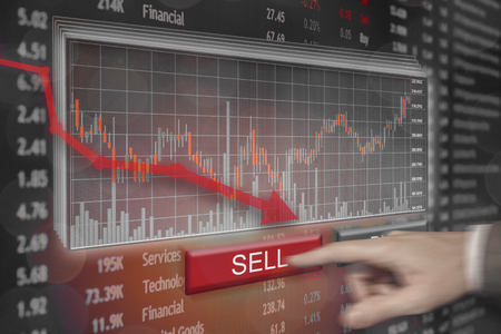 Financial market price plummet into the red as shares take heavy loss.