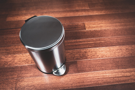 Clean trash bin concept for garbage and refuse can for waste and a clean environment.  Trash container. Stock Photo