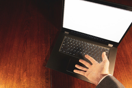 Business laptop with hands. Stock Photo