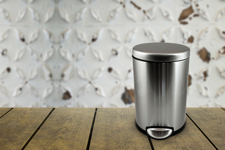 Isolated trash bin container with copy space for text.