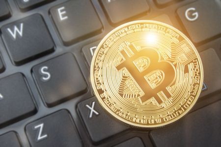 Bitcoin currency blockchain mining technology and internet trading bitcoin and crypto at online exchanges.  Copy space room for wording. Stockfoto