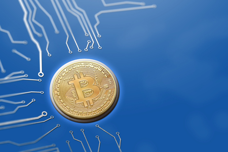 Isolated bitcoin technology in blue with copyspace. Circuit board concept for technological currency.