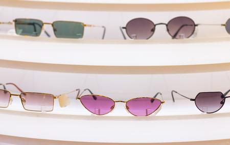 Sunglass eye wear shop and apparel.  Latest trending fashion. Stockfoto