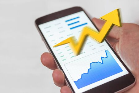 Mobile device stock market success with rising bull trend.  Financial freedom.