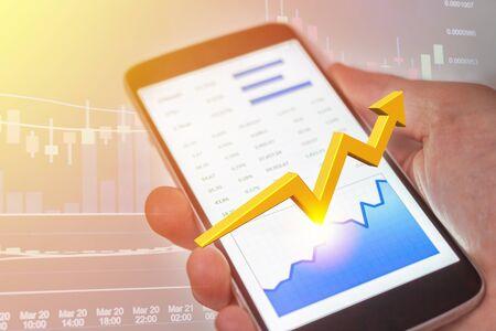 Erfolg an der Börse für Mobilgeräte mit steigendem Bullentrend. Finanzielle Freiheit.