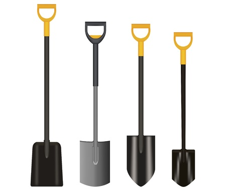 Shovel Illustration drawing with Yellow Handle on white background