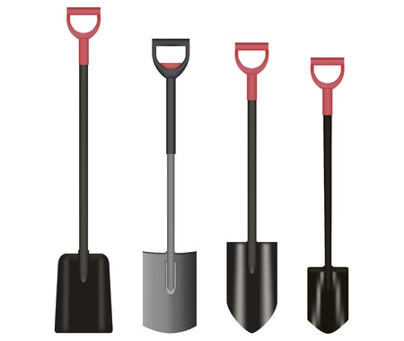 Shovel Illustration drawing with Red Handle on white background